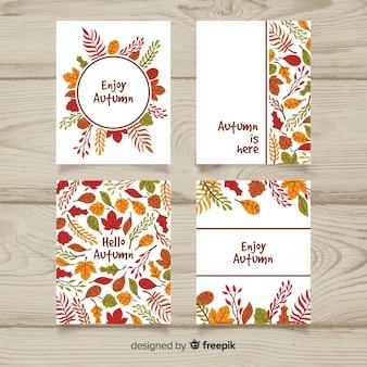 Pack de tarjetas de otoño dibujadas a mano.
