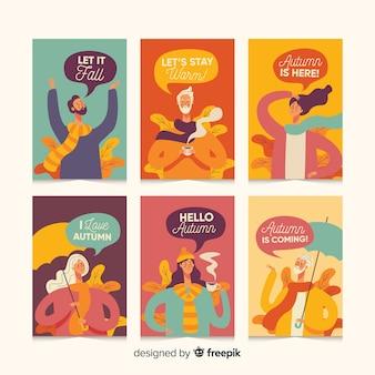 Pack de tarjetas de personas otoñales