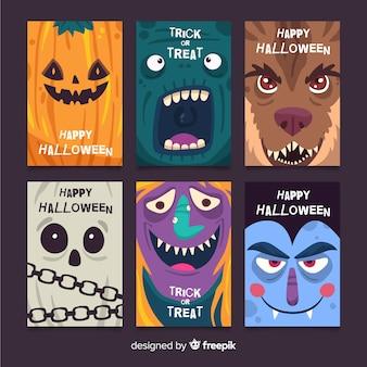 Pack de tarjetas planas de halloween
