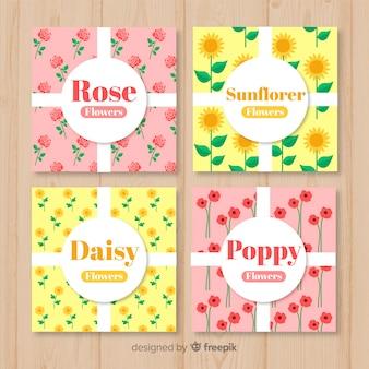 Pack tarjetas tipos de flores primavera