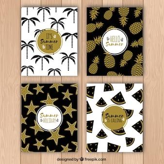 Pack de tarjetas de verano con detalles dorados