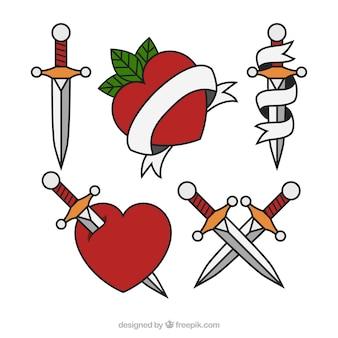 Pack de tatuajes de corazones y puñales