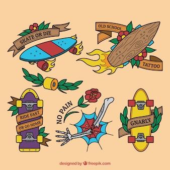 Pack de tatuajes de monopatín dibujados a mano