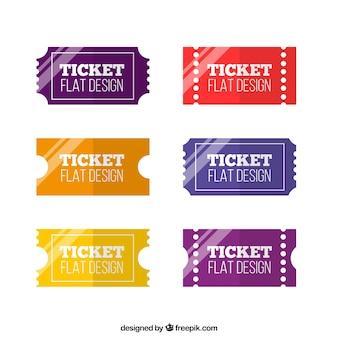 Pack de tickets diseño plano