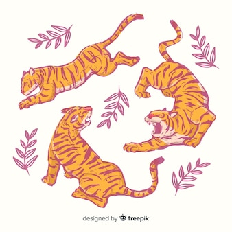 Pack de tigres dibujados a mano.