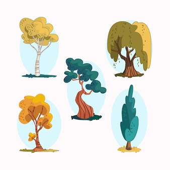Pack tipo de árboles dibujados a mano