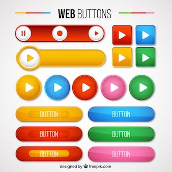 Pack de tipos de botones web de colores