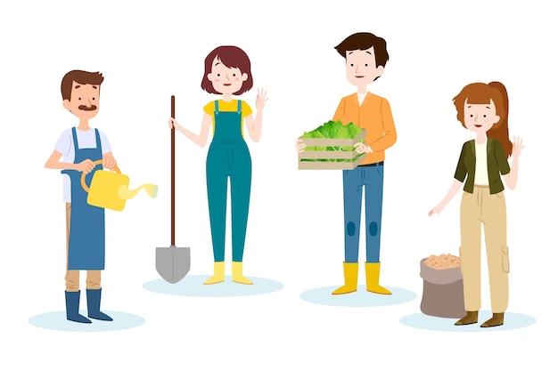 Pack de trabajadores agrícolas ilustrados
