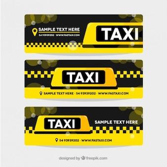 Pack de tres banners amarillos de taxi