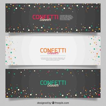 Pack de tres banners de confeti con fondos geométricos