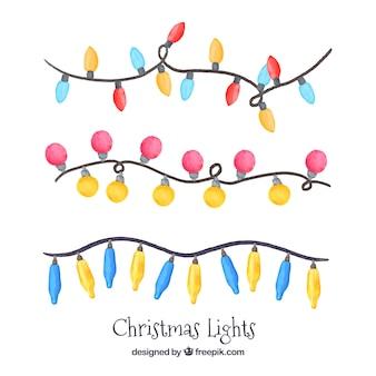 Pack de tres guirnaldas de luces navideñas de acuarela
