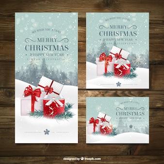Pack de tres tarjeta de navidad con diferentes tamaños vector gratuito