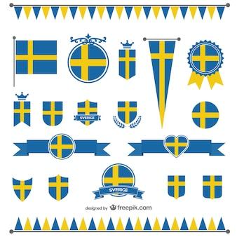 Pack de vectores con la bandera de suecia