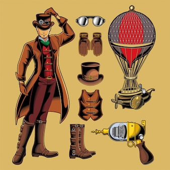 Pack de vectores steampunk