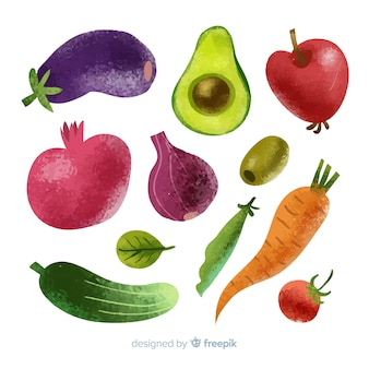 Pack verduras y frutas acuarela