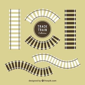 Pack de vías de ferrocarril de madera en diseño plano