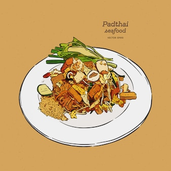 Pad-thai, comida tailandesa.
