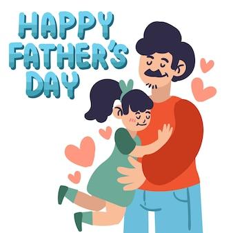 Padre, abrazar, hija, ilustración