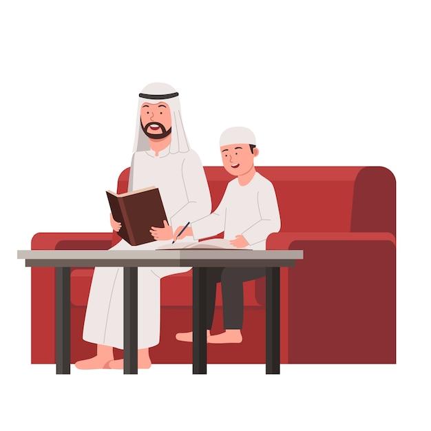 Padre árabe enseña a su hijo a estudiar en casa caricatura plana