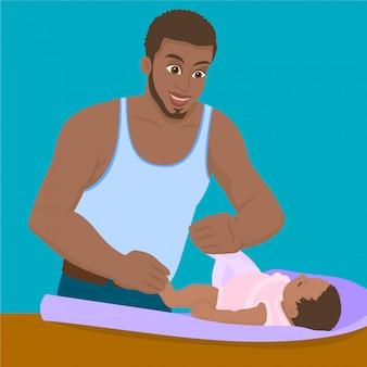 El padre está cambiando el pañal de su hija.