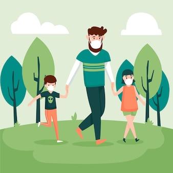 Padre caminando con niños usando máscaras médicas