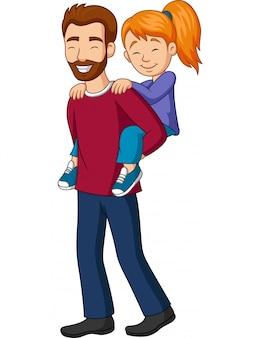 Padre dando a su niña a cuestas paseo