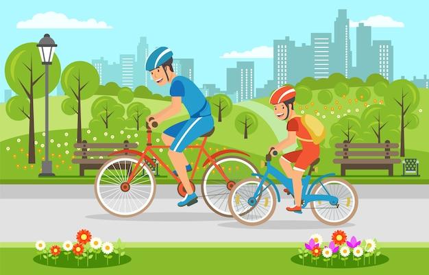 Padre de dibujos animados con hijo montando en bicicleta en el parque