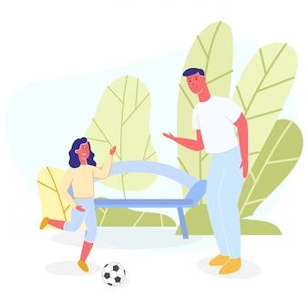 Padre e hija descansan jugando a la pelota en el parque