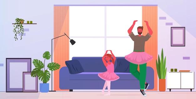 Padre e hija en faldas rosas bailando como bailarinas ballet lección crianza concepto de paternidad papá pasando tiempo con su hijo en casa ilustración vectorial horizontal de longitud completa