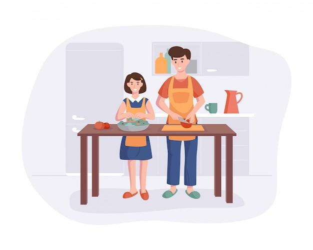 Padre e hija que cocinan la cena en la mesa en la cocina. concepto de personaje de dibujos animados preparando comidas en casa en estilo plano.