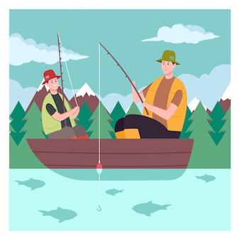 Padre e hijo en el barco de pesca en el lago