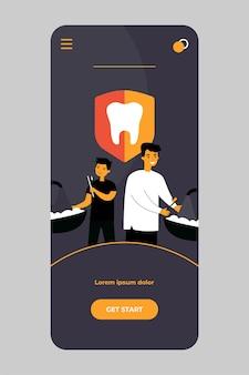 Padre e hijo cepillarse los dientes en la aplicación móvil