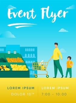 Padre e hijo comprando comida en plantilla de volante de supermercado