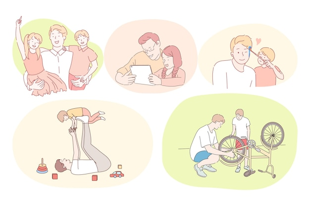 Padre e hijo, día del padre, actividades con concepto de niños. padres jóvenes jugando con niños