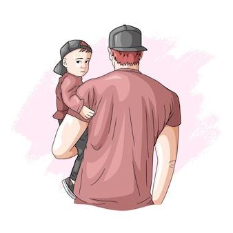 Padre e hijo dibujados a mano para el día 2 del padre