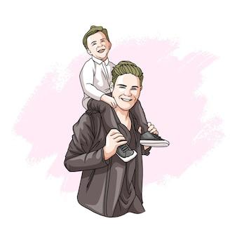 Padre e hijo dibujados a mano para el día del padre 1