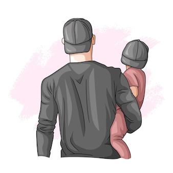 Padre e hijo dibujados a mano para el día del padre 6