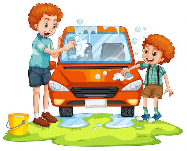 Padre e hijo lavando carro