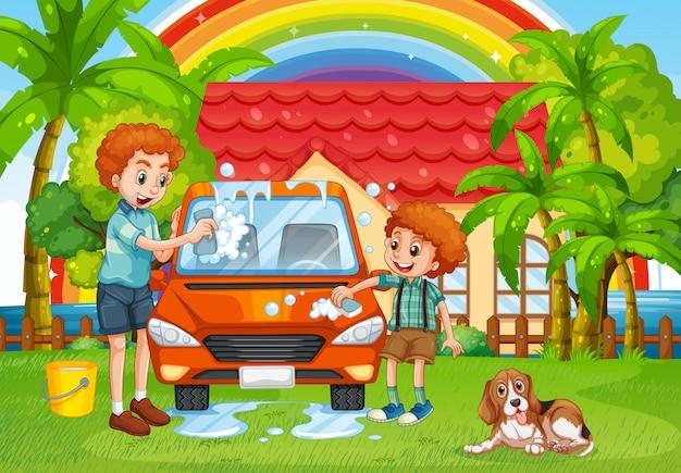 Padre e hijo lavando el coche en el patio trasero