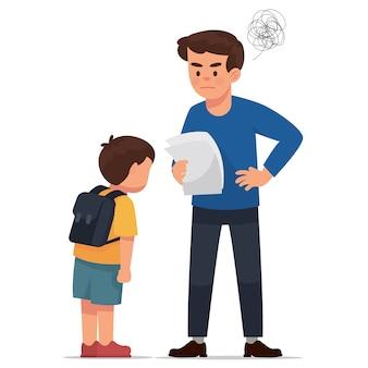 Padre enojado a prueba de puntuación de su hijo