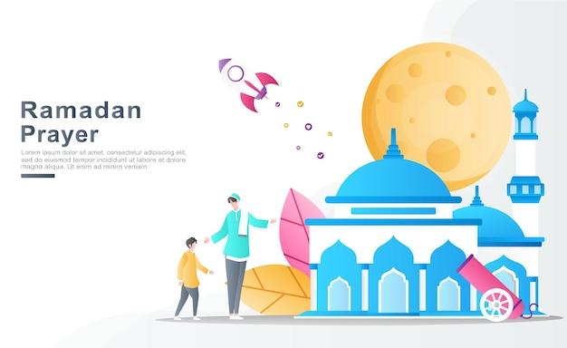 El padre enseña e invita a sus hijos a rezar al hermoso concepto de ilustración de la mezquita.