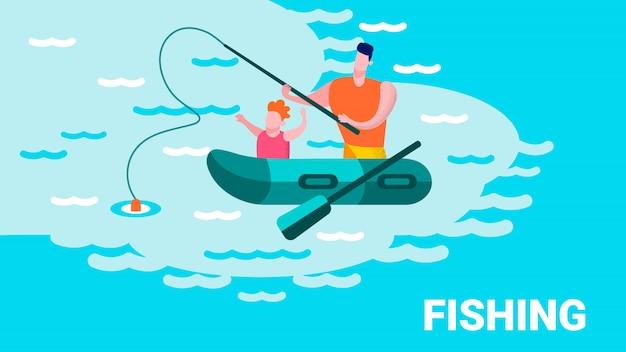 Padre enseñando hijo pescado letras motivar