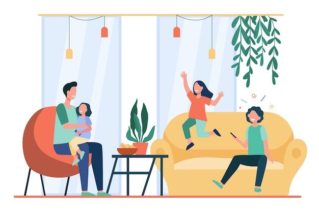 Padre entreteniendo a tres niños en casa. niños felices jugando y divirtiéndose con su papá. ilustración de vector plano para padres solteros, familia, concepto de paternidad