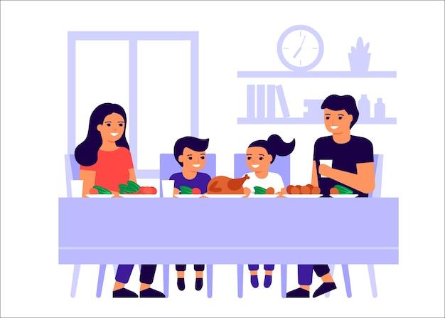 Padre de familia, madre e hijos están sentados juntos a la mesa, hablando y comiendo. la familia feliz celebra las vacaciones y come pavo. hombres, mujeres y niños prueban la comida en casa. ilustración plana