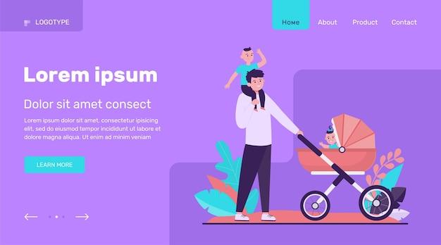 Padre feliz caminando con niños. bebé, carro, parque ilustración vectorial plana. diseño de sitio web de concepto de familia y paternidad o página web de destino