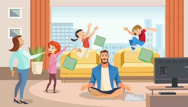 Padre feliz en posición de loto rodeado de familia