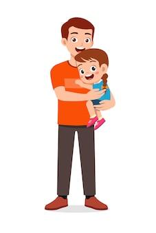 Padre guapo joven lleva niño lindo