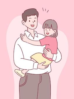 Padre con hija con una sonrisa, feliz pasar tiempo juntos, concepto del día del padre, estilo dibujado a mano.