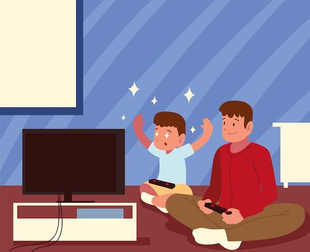 Padre hijo con control de videojuegos