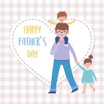 Padre hijo e hija en el día del padre